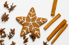 Snowflake shaped gingerbread cookie Royalty Free Stock Images