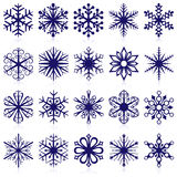 Snowflake shapes. Vector collection of snowflake shapes isolated on white background Royalty Free Stock Images