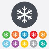 Snowflake sign icon. Air conditioning symbol. Round colourful 11 buttons stock illustration