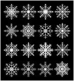 Snowflake silhouette icon, symbol, design set. Winter, christmas vector illustration  on black background. Stock Image