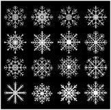 Snowflake silhouette icon, symbol, design set. Winter, christmas vector illustration  on black background. Royalty Free Stock Image