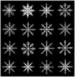 Snowflake silhouette icon, symbol, design set. Winter, christmas vector illustration  on black background. Royalty Free Stock Photo