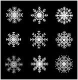Snowflake silhouette icon, symbol, design. Winter, christmas vector illustration  on the black background. Royalty Free Stock Photo