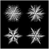 Snowflake silhouette icon, symbol, design. Winter, christmas vector illustration  on the black background. Stock Images