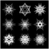 Snowflake silhouette icon, symbol, design. Winter, christmas vector illustration  on the black background. Stock Photography