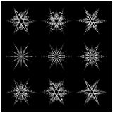 Snowflake silhouette icon, symbol, design. Winter, christmas vector illustration  on the black background. Stock Photo