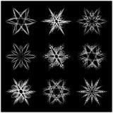 Snowflake silhouette icon, symbol, design. Winter, christmas vector illustration  on the black background. Stock Image