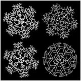 Snowflake silhouette icon, symbol, design. Winter, christmas vector illustration isolated on the black background. Stock Photos