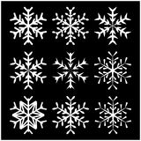 Snowflake silhouette icon, symbol, design. Winter, christmas vector illustration isolated on the black background. Royalty Free Stock Photos