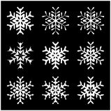 Snowflake silhouette icon, symbol, design. Winter, christmas vector illustration isolated on the black background. Stock Photo