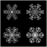 Snowflake silhouette icon, symbol, design. Winter, christmas vector illustration isolated on the black background. Royalty Free Stock Image