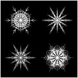 Snowflake silhouette icon, symbol, design. Winter, christmas vector illustration isolated on the black background. Royalty Free Stock Images
