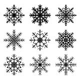 Snowflake silhouette icon, symbol, design. Winter, christmas vector illustration isolated on the white background. Stock Photo