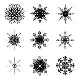 Snowflake silhouette icon, symbol, design. Winter, christmas vector illustration isolated on the white background. Stock Image