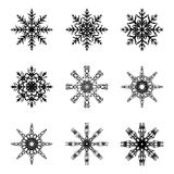 Snowflake silhouette icon, symbol, design. Winter, christmas vector illustration isolated on the white background. Snowflake silho Stock Photography
