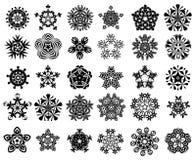 Snowflake silhouette set Stock Image