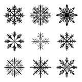 Snowflake silhouette vector set. On white royalty free illustration
