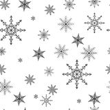 Snowflake simple seamless pattern. Black snow on white background. Abstract wallpaper, wrapping decoration. Symbol of stock illustration