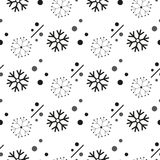 Snowflake simple seamless pattern. Black snow on white background. Abstract wallpaper, wrapping decoration. Symbol winter, Merry C. Hristmas holiday, Happy New vector illustration