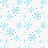 Snowflake simple seamless pattern. Blue snow on white background. Abstract wallpaper, wrapping decoration. Symbol of winter, Merry vector illustration