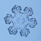 Snowflake. A single snowflake on blue background royalty free stock image