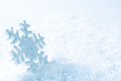 Snowflake on Snow, Blue Sparkles Snow Flake, Winter Stock Photo