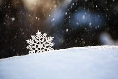 Snowflake on snow.Winter holidays and Christmas background royalty free stock photos