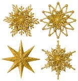 Snowflake Star Christmas Decoration, Xmas Gold Snow Flake, Isolated Stock Photography