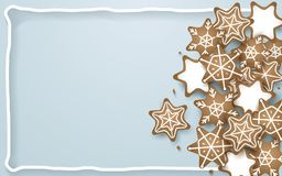 Snowflake, star, cookies shapes on soft blue background. Space for your text Royalty Free Stock Image