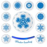 Snowflake stickers.Vector set of paper snowflakes. Paper icons f royalty free illustration