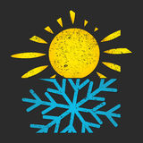 Snowflake and sun air conditioning for home Royalty Free Stock Photo