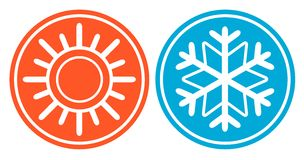 Snowflake with sun - season specific icon Royalty Free Stock Photography