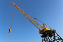 Snowflake is suspended on a hook of crane Stock Images