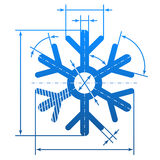 Snowflake symbol with dimension lines Royalty Free Stock Photo