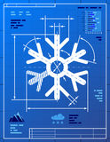 Snowflake symbol like blueprint drawing Royalty Free Stock Photos