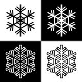 Snowflake symbols icons signs logos simple black and white colored set 5 stock illustration