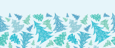 Snowflake Textured Christmas Trees Horizontal Royalty Free Stock Photos