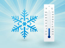 Snowflake with a thermometer Royalty Free Stock Image