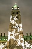 Snowflake Tower. The canadian Parliament with Christmas decorations at dusk Stock Photos