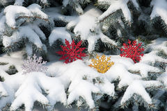 Snowflake toy in snowfall on fir tree Stock Photography