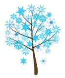 Snowflake tree. Vector snowflake tree with different snowflakes Stock Photo