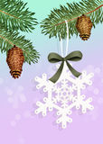 Snowflake on tree Royalty Free Stock Image