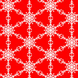 Snowflake vector pattern on red royalty free illustration