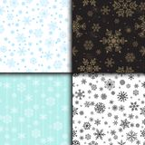 Snowflake vector seamless pattern weather traditional winter december wrapping paper christmas background. Royalty Free Stock Image
