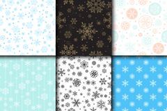 Snowflake vector seamless pattern weather traditional winter december wrapping paper christmas background. Stock Photography