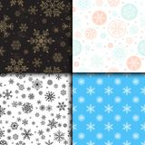 Snowflake vector seamless pattern weather traditional winter december wrapping paper christmas background. Royalty Free Stock Photography
