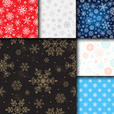 Snowflake vector seamless pattern weather traditional winter december wrapping paper christmas background. Royalty Free Stock Photo
