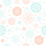 Snowflake vector seamless pattern weather traditional winter december wrapping paper christmas background. Stock Images