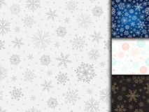 Snowflake vector seamless pattern weather traditional winter december wrapping paper christmas background. Stock Photos