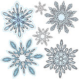 Snowflake Vector Set. A set of snowflake ornaments for winter christmas holiday festive occasions Royalty Free Stock Photography